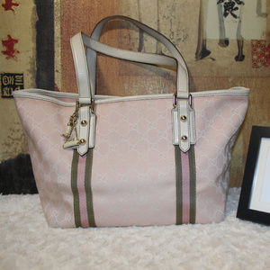 AUTH Gucci GG Logo Pink and White Tote